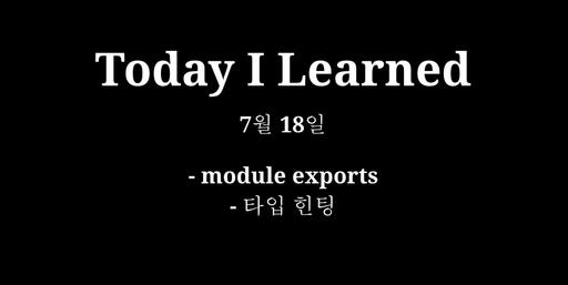 TIL 7월 18일 - module exports, 타입 힌팅, 아무도 없어요