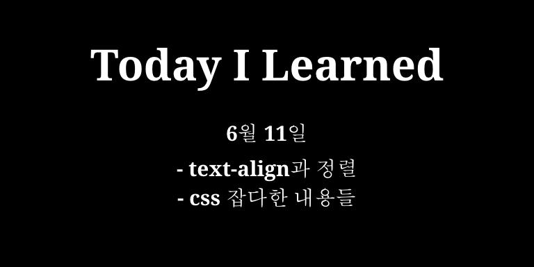 TIL 6월 11일 - text-align과 정렬, css 잡다한 내용들 Thumbnail
