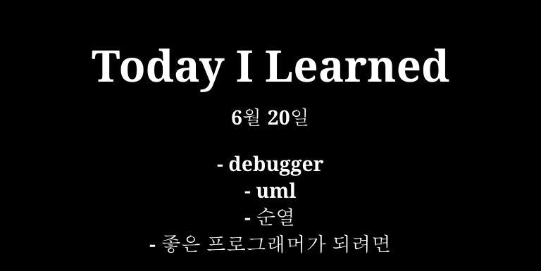 TIL 6월 20일 - debugger, uml, 순열, 좋은 프로그래머가 되려면? Thumbnail