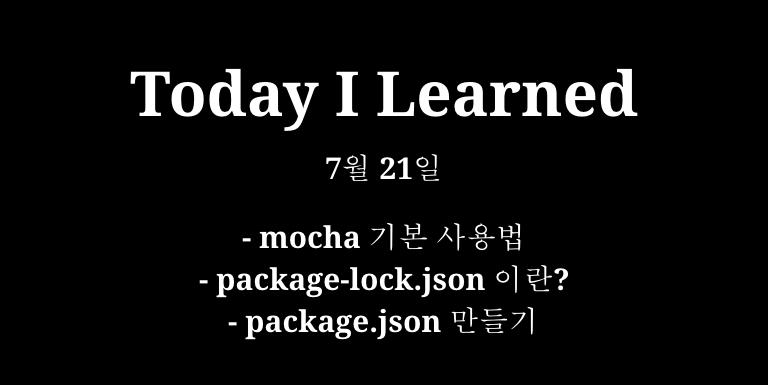 TIL 7월 21일 - mocha 기본 사용법, package-lock.json이란?, package.json 만들기 Thumbnail